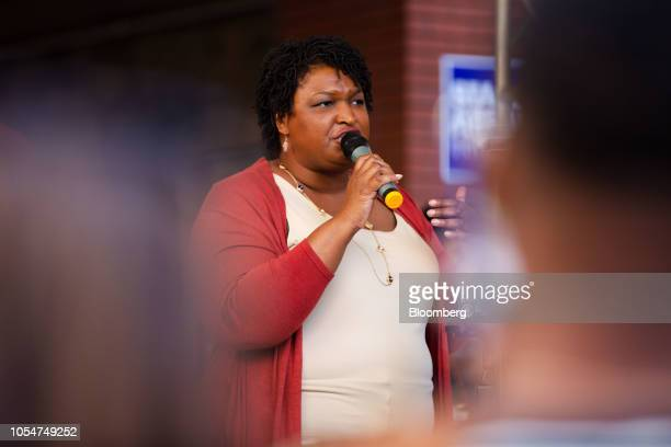 Stacey Abrams Democratic nominee for governor of Georgia speaks during a rally ahead of a Souls to the Polls march in Atlanta Georgia US on Sunday...