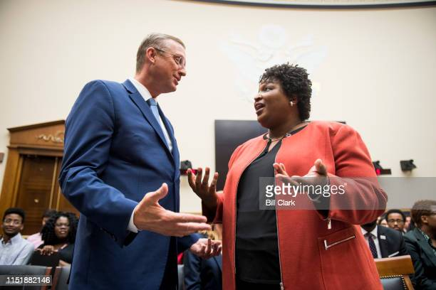 Stacey Abrams former Democratic leader in the Georgia House of Representatives and founder and chair of Fair Fight Action speaks with ranking member...