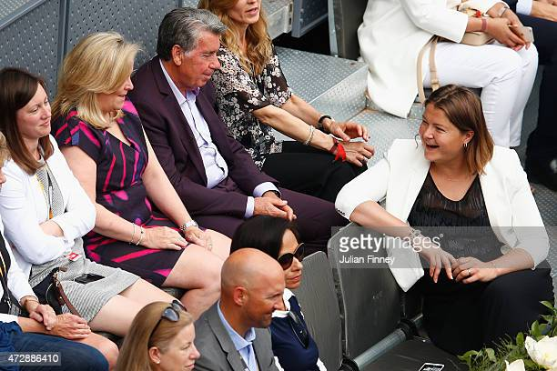 Stacey Allaster the Chairman and CEO of the WTA talks with Dinara Safina as Petra Kvitova of Czech Republic played Svetlana Kuznetsova of Russia in...