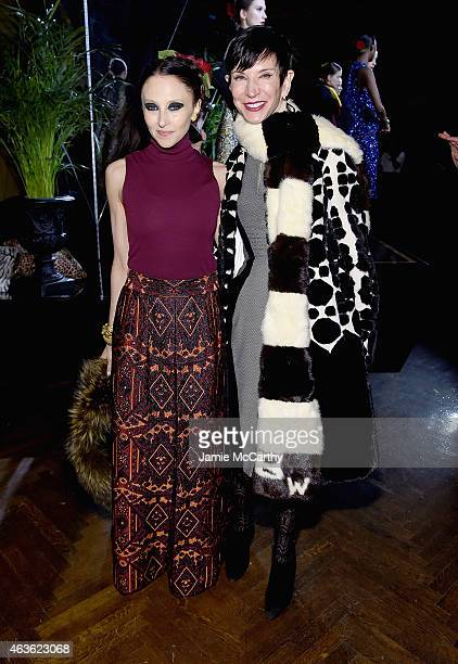Stacey Bendet and Amy Fine Collins attend the Alice Olivia presentation during MercedesBenz Fashion Week Fall 2015 on February 16 2015 in New York...