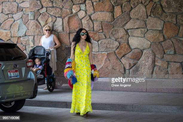 Stacey Bendet Eisner chief executive officer and creative director Alice Olivia clothing company arrives at the Sun Valley Resort for the annual...
