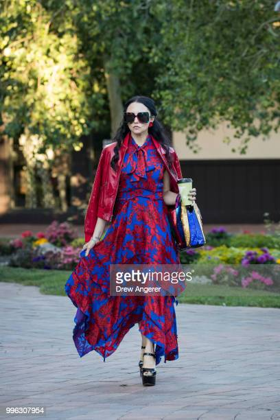 Stacey Bendet Eisner chief executive officer and creative director Alice Olivia clothing company arrives for a morning session of the annual Allen...