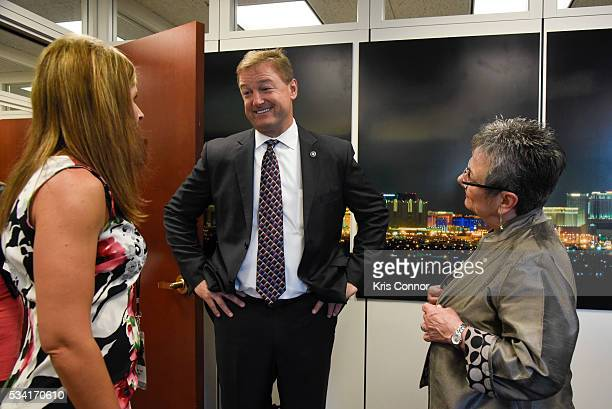 Stacey Clark and Marcia Neel of NAMM meet with Sen. Dean Heller during the NAMM, CMA and VH1 Music Advocacy Day in the US Capitol on May 25, 2016 in...