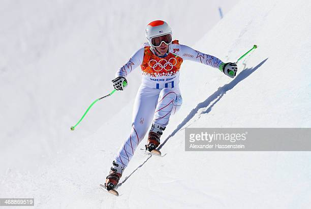 Stacey Cook of the United States in action during the Alpine Skiing Women's Downhill on day 5 of the Sochi 2014 Winter Olympics at Rosa Khutor Alpine...