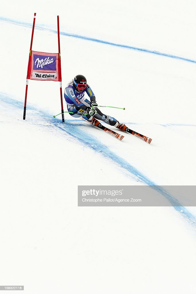 Stacey Cook of the USA competes during the Audi FIS Alpine Ski World Cup Women's Downhill training on December 13, 2012 in Val d'Isere, France.