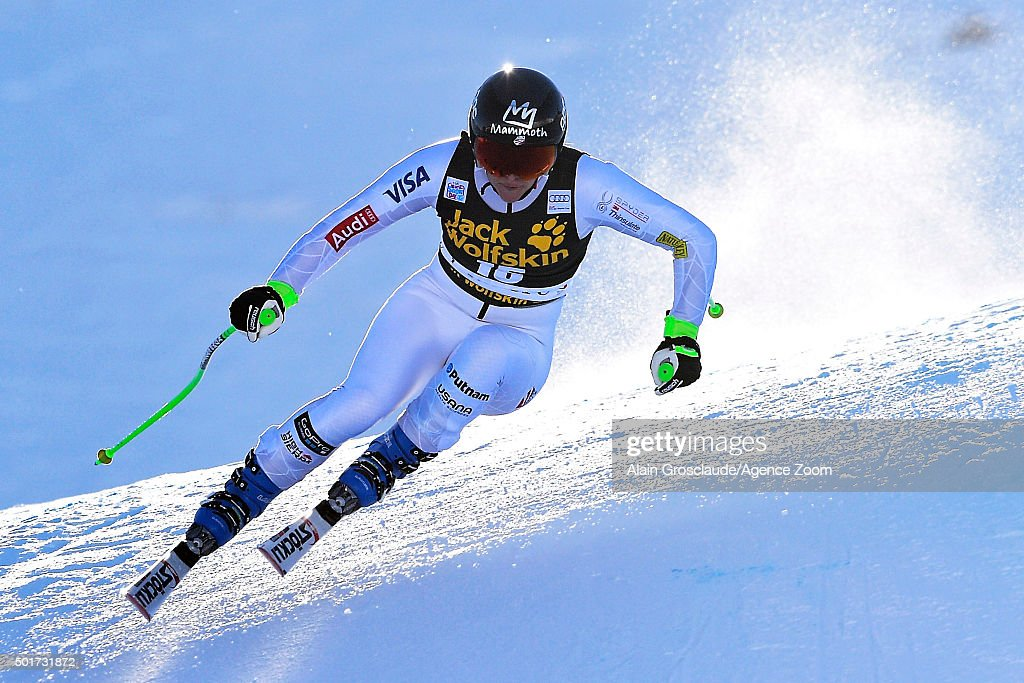 Stacey Cook of the USA competes during the Audi FIS Alpine Ski World Cup Women's Downhill Training on December 17, 2015 in Val d'Isere, France.