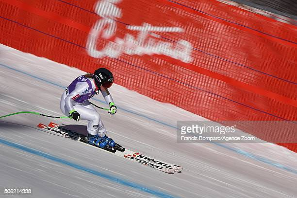 Stacey Cook of the USA competes during the Audi FIS Alpine Ski World Cup Women's Downhill Training on January 22 2016 in Cortina d'Ampezzo Italy
