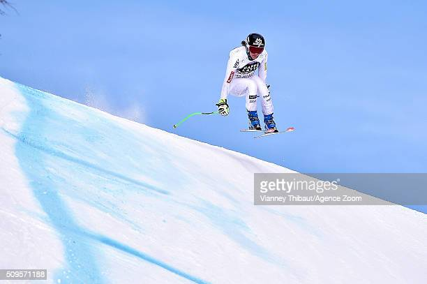 Stacey Cook of the USA competes during the Audi FIS Alpine Ski World Cup Women's Downhill Training on February 11 2016 in Crans Montana Switzerland