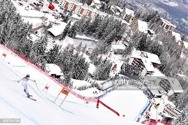 Stacey Cook of the USA competes during the Audi FIS Alpine Ski World Cup Women's Downhill Training on February 12 2016 in Crans Montana Switzerland