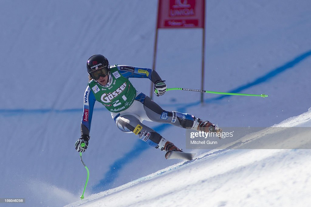 Stacey Cook of the USA races down the Kandahar course whilst competing in the Audi FIS Alpine Ski World Cup downhill race on January 12, 2013 in St Anton, Austria.