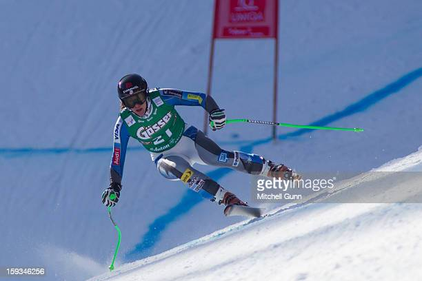 Stacey Cook of the USA races down the Kandahar course whilst competing in the Audi FIS Alpine Ski World Cup downhill race on January 12 2013 in St...