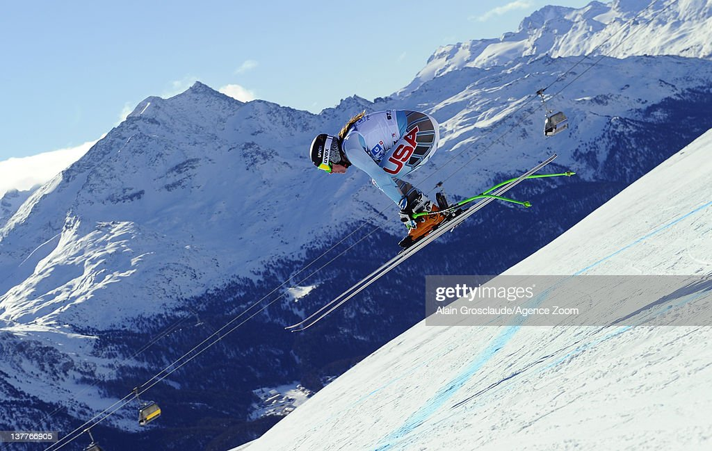 Stacey Cook of the USA skis during the Audi FIS Alpine Ski World Cup Women's Downhill Training on January 26, 2012 in St.Moritz, Switzerland.