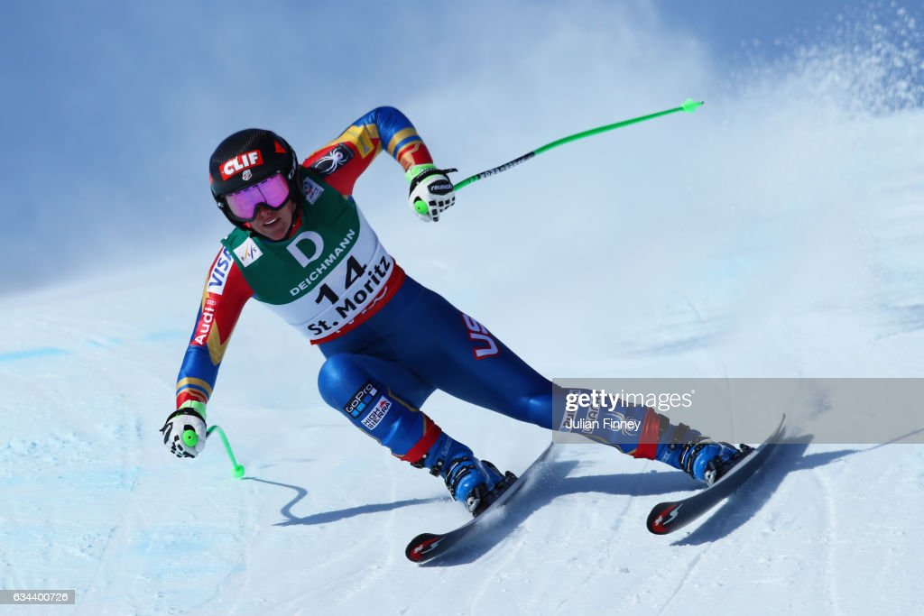 Stacey Cook of USA competes in the Ladies Downhill training on February 9, 2017 in St Moritz, Switzerland.