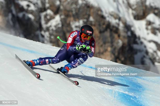 Stacey Cook of USA in action during the Audi FIS Alpine Ski World Cup Women's Downhill Training on January 18 2018 in Cortina d'Ampezzo Italy
