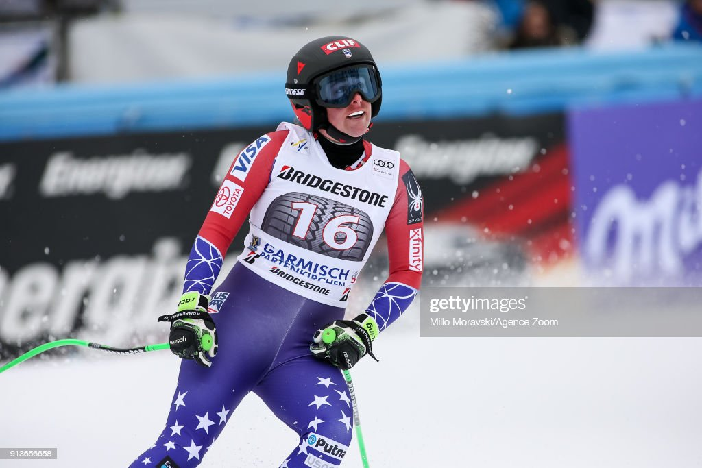 Stacey Cook of USA reacts during the Audi FIS Alpine Ski World Cup Women's Downhill on February 3, 2018 in Garmisch-Partenkirchen, Germany.