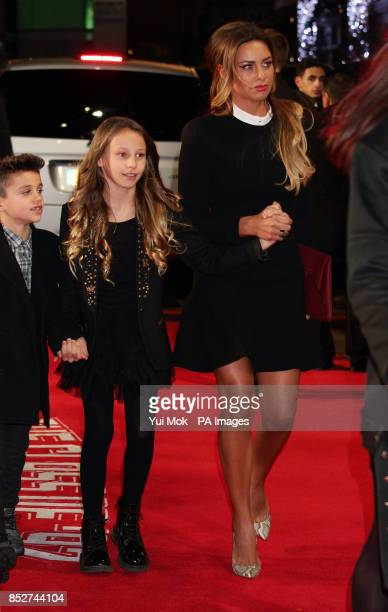 Stacey Cooke wife of Ryan Giggs arriving with their children Zachary and Liberty for the world premiere of The Class of 92 at the Odeon Leicester...