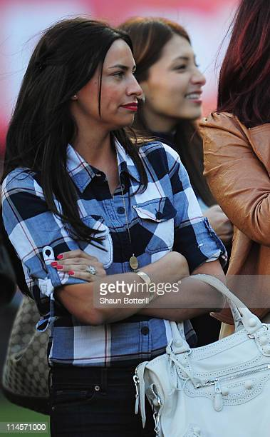Stacey Cooke wife of Ryan Giggs looks on after the Barclays Premier League match between Manchester United and Blackpool at Old Trafford on May 22...