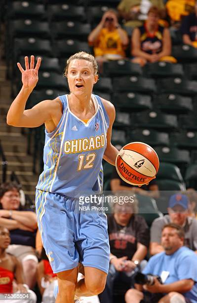 Stacey Dales of the Chicago Sky calls a play as she moves the ball up court during the WNBA game against the Indiana Fever on July 8 2007 at Conseco...