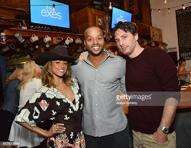 Stacey Dash Donald Faison and Zach Braff attend 'The Exes' Season 4 which premieres November 5 at 1030p ET/PT at Wirtshaus LA on October 27 2014 in...