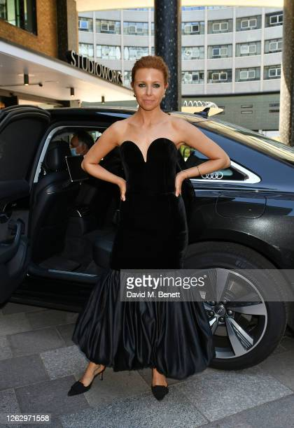 Stacey Dooley arrives in an Audi at the Virgin Media British Academy Television Awards 2020 at Television Centre on July 31 2020 in London England