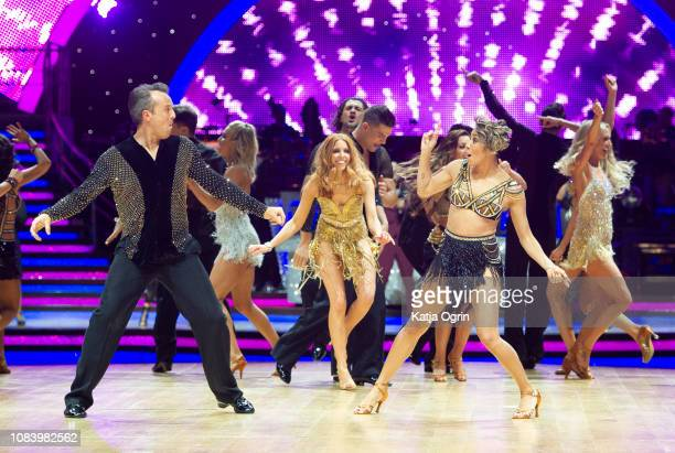 Stacey Dooley Graeme Swann and Karen Clifton attend the photocall for the 'Strictly Come Dancing' live tour at Arena Birmingham on January 17 2019 in...
