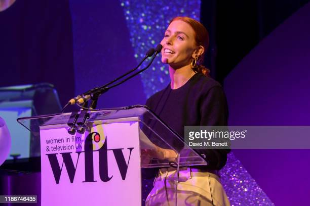 Stacey Dooley on stage at the Women in Film and TV Awards 2019 at Hilton Park Lane on December 06 2019 in London England