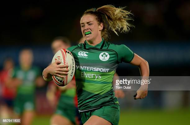 Stacey Flood of Ireland in action during the match between Ireland and Spain on Day One of the Emirates Dubai Rugby Sevens HSBC Sevens World Series...