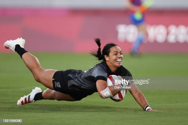 Stacey Fluhler of Team New Zealand scores a try in the Women's Gold Medal match between Team New Zealand and Team France during the Rugby Sevens on...