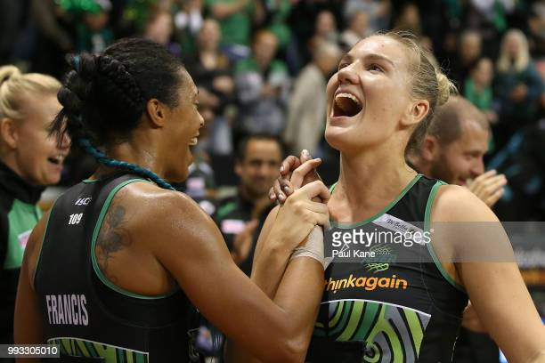 Stacey Francis and Courtney Bruce of the Fever celebrate winning the round 10 Super Netball match between the Fever and the Lightning at HBF Stadium...