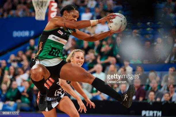Stacey Francis of the Fever makes an interception during the round two Super Netball match between the Fever and the Magpies at Perth Arena on May 5...