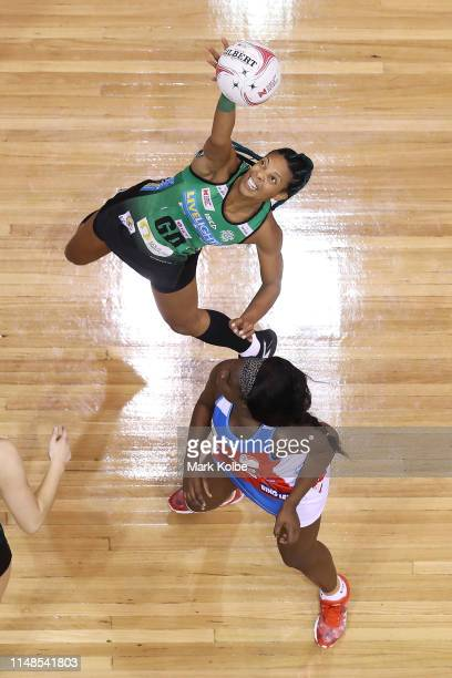 Stacey Francis of the Fever wins the ball during the round three Super Netball match between the Sydney Swifts and the West Coast Fever at Quay...