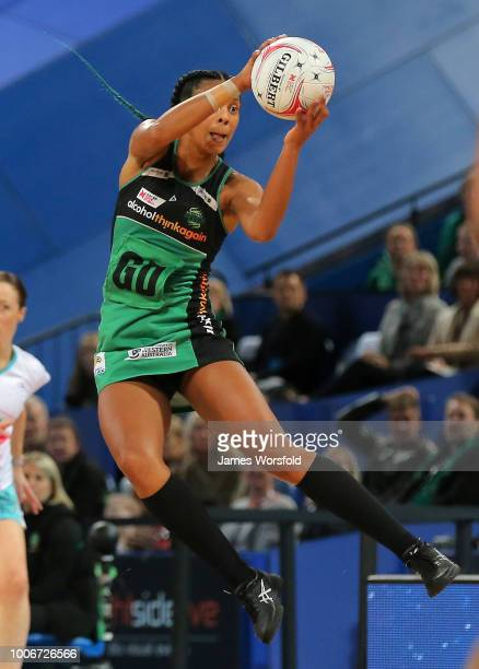 Stacey Francis of the West Coast Fever Grabs the ball in mid air during a timeout in the 2nd quarter during the round 13 Super Netball match between...
