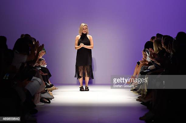 Stacey Hendrickson appears on the catwalk following her Casper Pearl show at the St George New Generation show at MercedesBenz Fashion Week Australia...