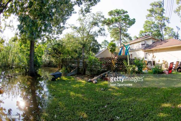 Stacey House has water standing in her backyard after Hurricane Harvey Thursday August 31 2017 in Baytown TX