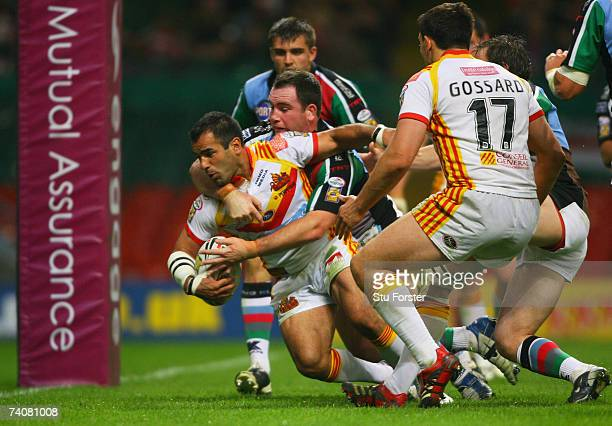 Stacey Jones Barges his way over to score a try during the Engage Super League match between Catalans Dragons and Harlequins RL at the Millennium...