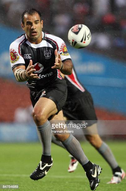 Stacey Jones of the Warriors in action during the NRL Trial match between the Warriors and the Melbourne Storm at Waikato Stadium on February 12,...