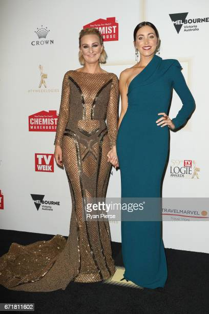 Stacey June and Kristie Mercer arrives at the 59th Annual Logie Awards at Crown Palladium on April 23 2017 in Melbourne Australia
