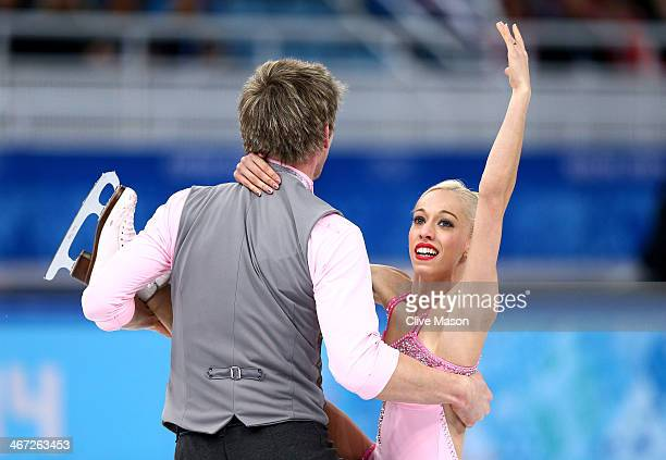 Stacey Kemp and David King of Great Britain compete in the Figure Skating Pairs Short Program during the Sochi 2014 Winter Olympics at Iceberg...