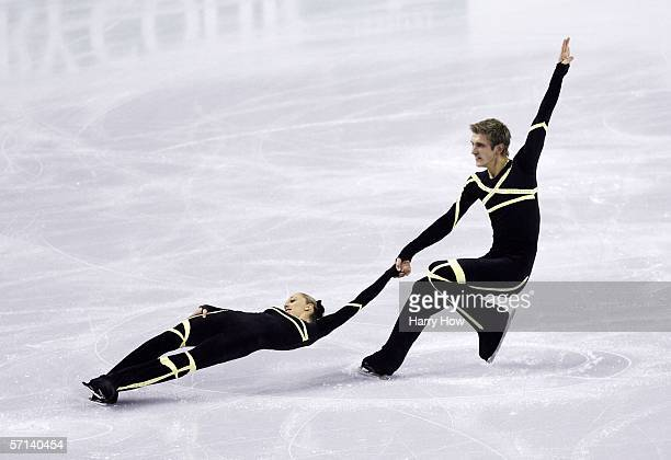 Stacey Kemp and David King of Great Britain compete in the Pairs Short Program during the ISU World Figure Skating Championships at the Pengrowth...