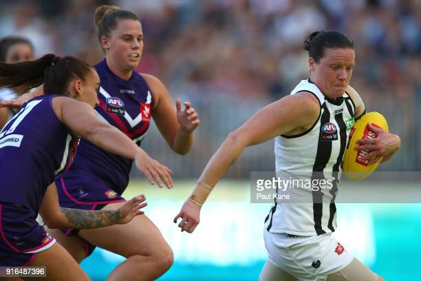 Stacey Livingstone of the Magpies avoids being tackled during the round two AFLW match between the Fremantle Dockers and the Collingwood Magpies at...