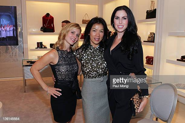 Stacey Lubar Mai Abdo and Amy Baier pose for a photo at The Art Of The Dress hosted by Vogue and Dior at Dior Boutique on September 22 2011 in Chevy...