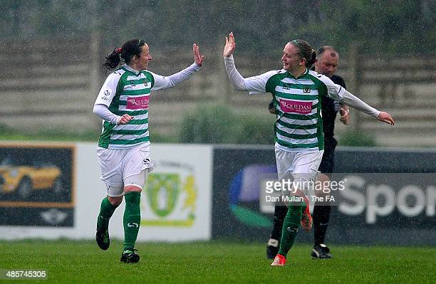 Stacey Pearson of Yeovil celebrates scoring her sides third goal with Helen Bleazard of Yeovil during the FA SWL 2 match between Yeovil Town Ladies...