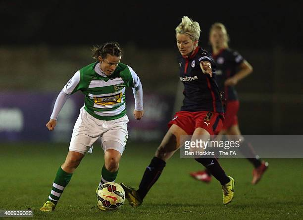 Stacey Pearson of Yeovil holds off pressure from Bonnie Horwood of Reading during the WSL 2 match between Yeovil Town Ladies FC and Reading FC Women...