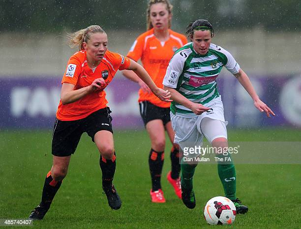 Stacey Pearson of Yeovil holds off Samantha Chappell of London Bees during the FA SWL 2 match between Yeovil Town Ladies and London Bees at Raleigh...