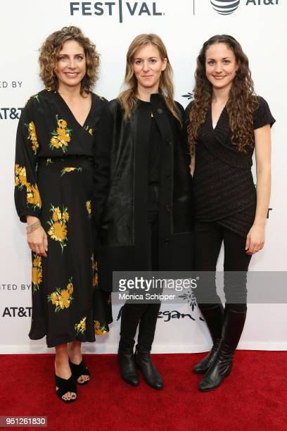 Stacey Reiss Madeleine Sackler and Leigh Johnson attend the screening of It's A Hard Truth Ain't It during the 2018 Tribeca Film Festival at SVA...