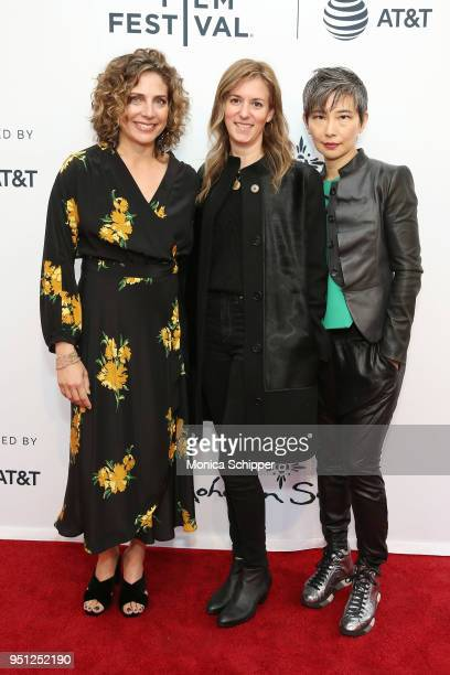 Stacey Reiss Madeleine Sackler and Sharon Chang attend the screening of It's A Hard Truth Ain't It during the 2018 Tribeca Film Festival at SVA...