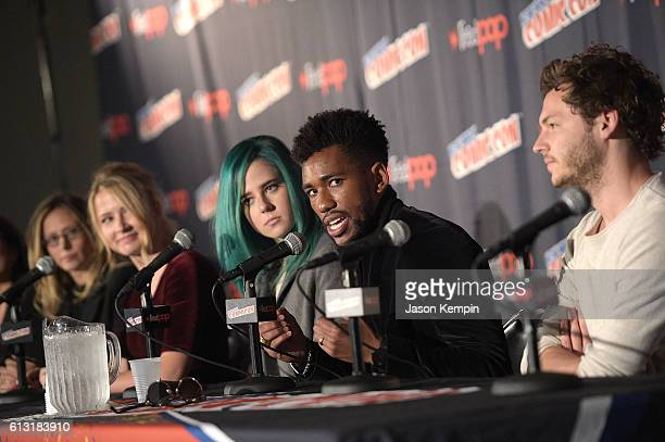 Stacey Sher Amanda Lasher actress Eliza Bennett actress Taylor Dearden actor Brandon Mychal Smith and actor Nick Fink attend the Sweet/Vicious press...