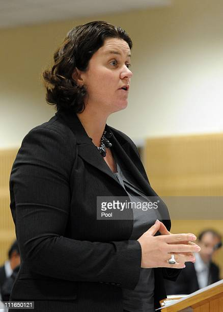 Stacey Shortall for Pike River Coal speaks during the first day of the Pike River Royal Commission Inquiry at District Court on April 5 2011 in...