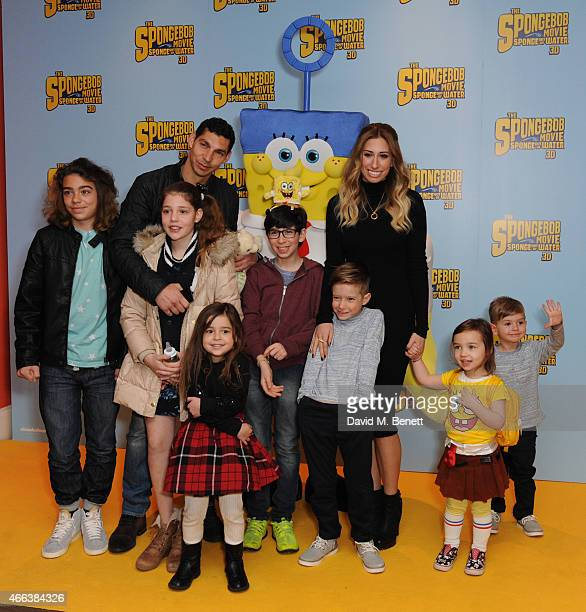 Stacey Soloman Family and Friends attends a special Mother's Day screening of 'The SpongeBob Movie Sponge Out of Water 3D' at the Ham Yard Hotel on...