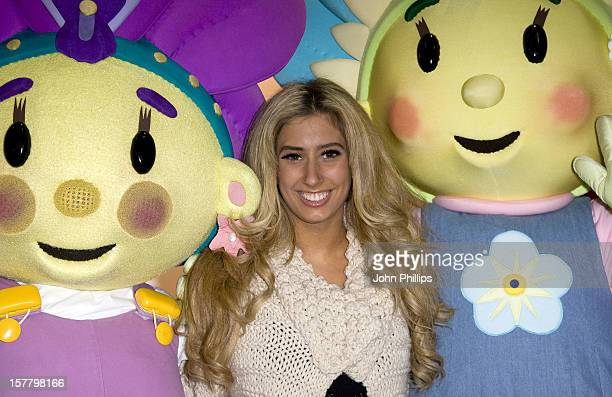 Stacey Solomon A Finalist In The Last X Factor Tv Show With Giant Cartoon Figures At Olympia In West London
